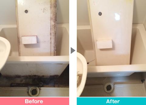 浴室エプロンのカビ汚れのクリーニング