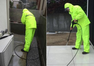 高圧洗浄機を使った床石クリーニング