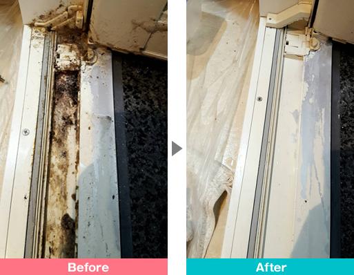 窓枠(サッシ)の汚れクリーニング